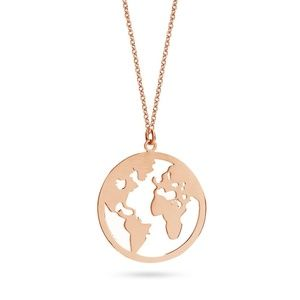 Rose Gold Colored Globe World Map Pendant Necklace